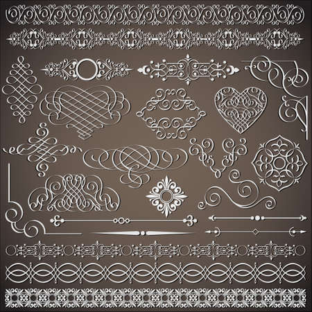 calligraphique: la collecte des �l�ments de conception de cru Illustration