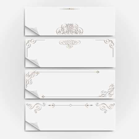 White paper banners with calligraphic elements Vector