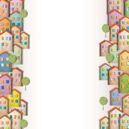 case colorate: Borders di case colorate a base di vecchia carta