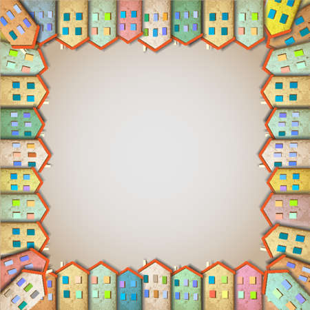 townscape: Frame of colorful homes made from old paper