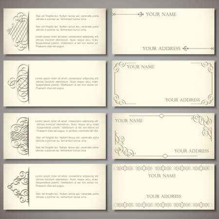business invitation: Collection elegant business cards with calligraphic elements