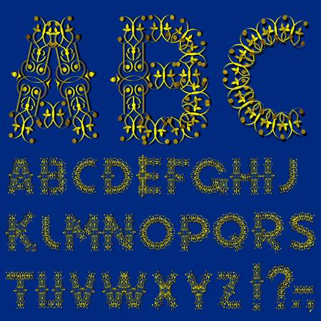 Swirly golden alphabet letters Stock Vector - 13168760