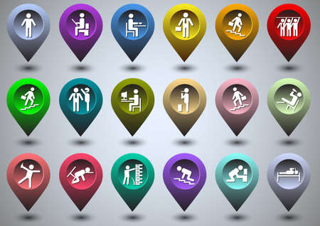 outstanding: Symbolic life of human in the form of  colorful GPS icons