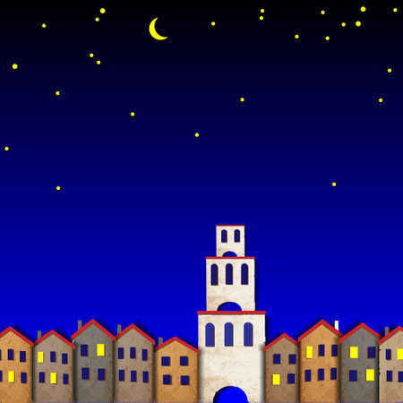 Townscape made from old paper at night. Stock Vector - 13168797