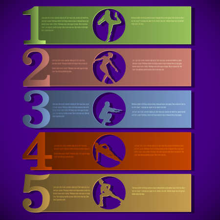 Numbered lines with fitness silhouettes.design template Vector