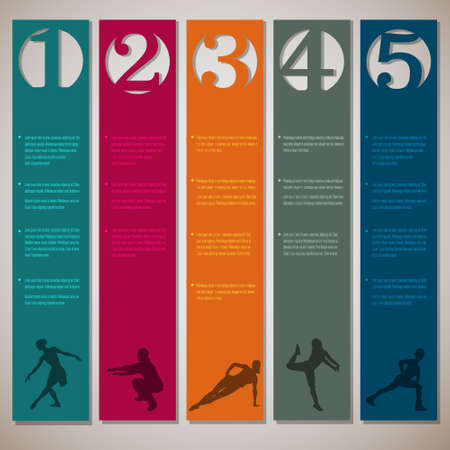 Vertical numbered lines with fitness silhouettes design template Vector