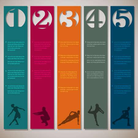 Verticale genummerde lijnen met fitness-silhouetten ontwerpsjabloon