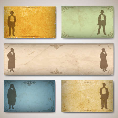 Vintage card with silhouettes old-fashioned womens and men. texture old paper Vector