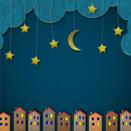 Paper town at night. Creative vector eps 10  Vector