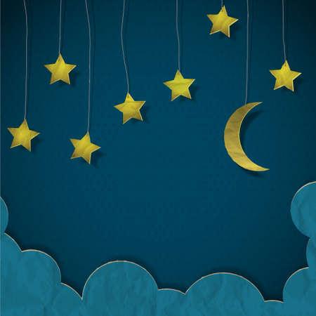 estrella caricatura: Luna y las estrellas hechas de papel.