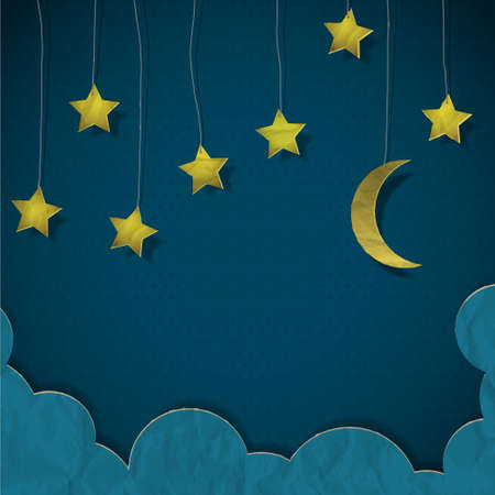 Moon and stars made from paper.   Vector