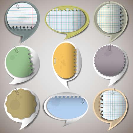 scotch tape: Paper speech bubbles.Vector set