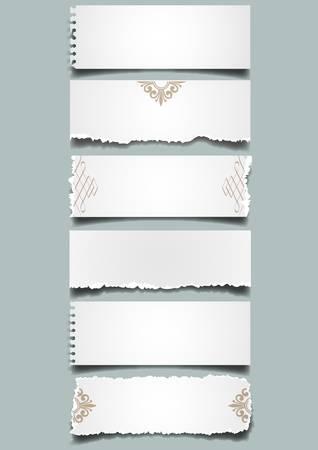 sticky tape: Seis notas de papel diferente.