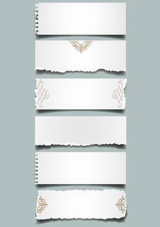 Seis notas de papel diferente.