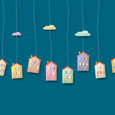 creative pictures: Homes made from paper on blue.