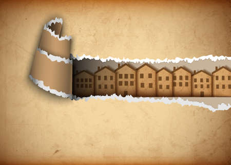 Paper town in hole of old paper. Vector