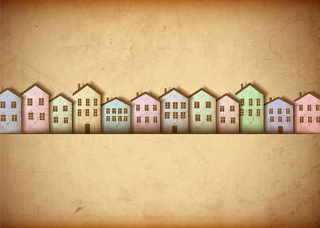 Town made from old paper.  Vector