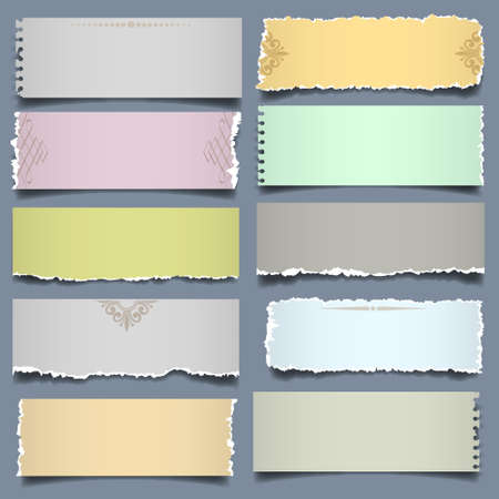Ten notes paper in pastel colors. Vector eps 10 Illustration