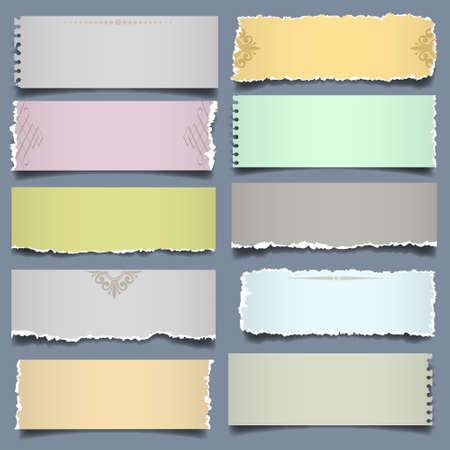 Diez notas de papel en colores pastel. Vector EPS 10