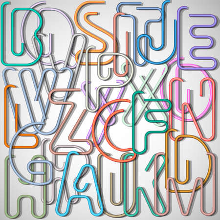 paper spell: Alphabet letters made from paperclip. Creative vector Illustration