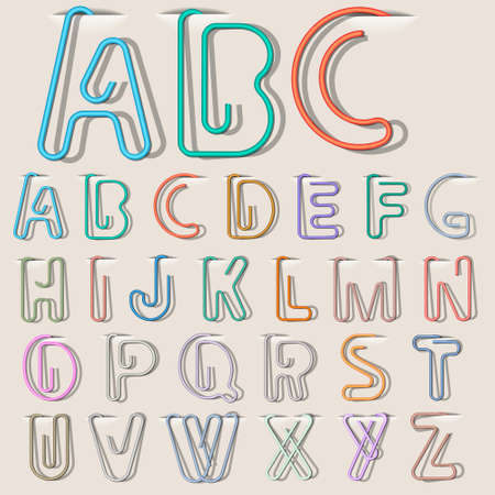 Clip paper in form alphabet letters. Vector eps10