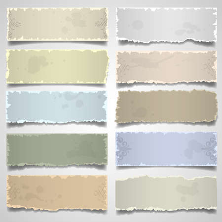 Collection of old note paper in pastel colors. Vector eps10 Illustration