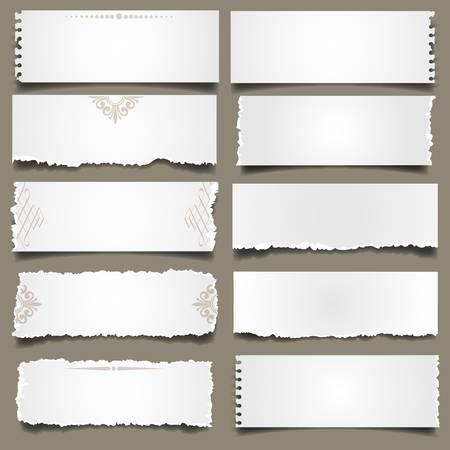 Diez notas de papel. Vector EPS 10
