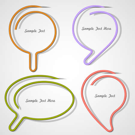 Bubbles speech made of paper clip. Vector eps10
