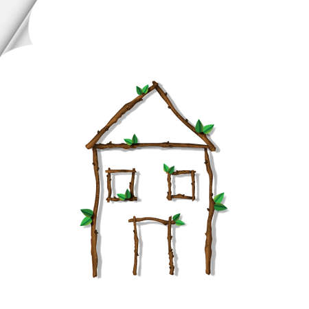 House made of branches isolated on white background. Vector eco concept Stock Vector - 13553738
