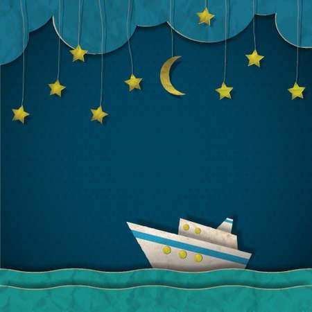 barco caricatura: Documento de crucero por la noche. Vectores