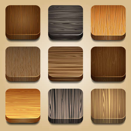 Vector set of apps icon with wooden texture Illustration