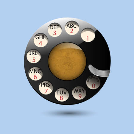 call history: Disc dials of old retro phone. Illustration