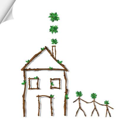 reforestaci�n: Casa y familia hecha de ramas Vectores