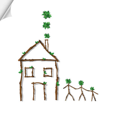 House and family made of branches Stock Vector - 13605898