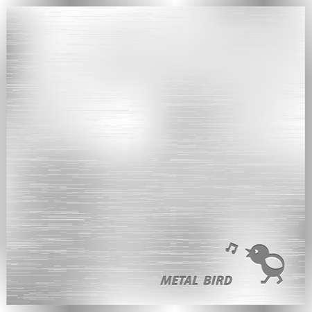 Metalen structuur achtergrond met gestileerde vogel. Vector eps10