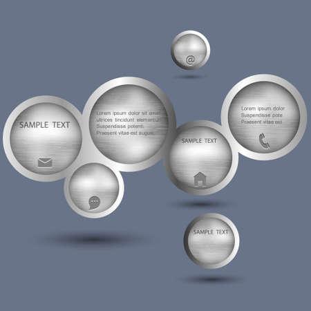 Metallic style web design bubble. Vector