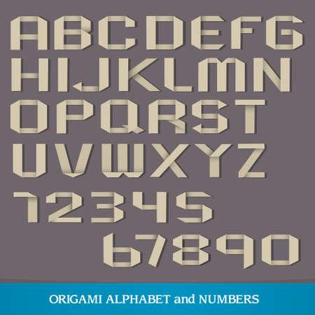 worn sign: Origami alfabeto con n�meros. Vectores
