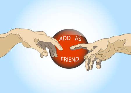 Add as friend - social site button. Stock Vector - 13605686