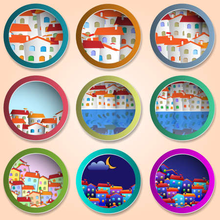 little town:  Colorful various design for Real estate