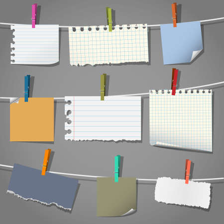 Collection of various notes and a clothes pegs Vector