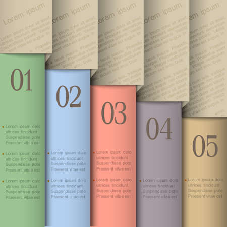 Paper numbered banners Design template in pastel colors Vector
