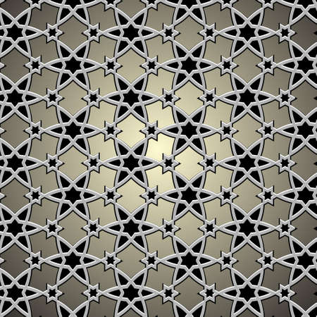 Metallic pattern on islamic motif illustration