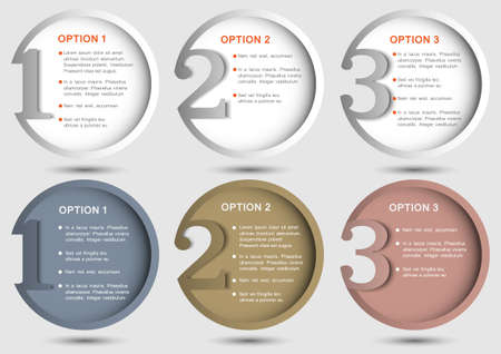 one to one: Round numbered banners  Creative design template