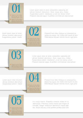 White paper numbered banners design template  Vector