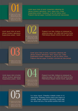 numbered: Carta colorata numerati banner. Vector modello di progettazione