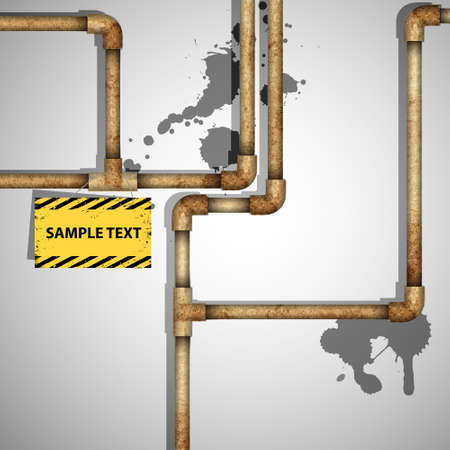 leaking: Industrial background with rusty pipes. Vector eps10 Illustration