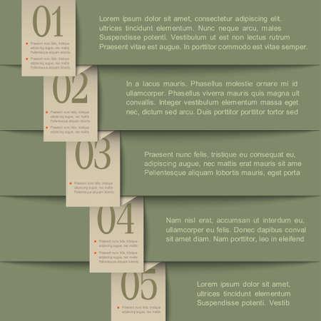 numbered: Retro carta template.Vector disegno numerato banner Vettoriali