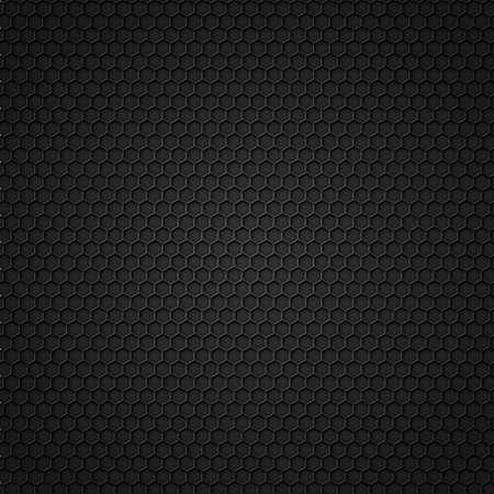 Zwarte carbon naadloze patroon met zeshoeken Vector Illustratie