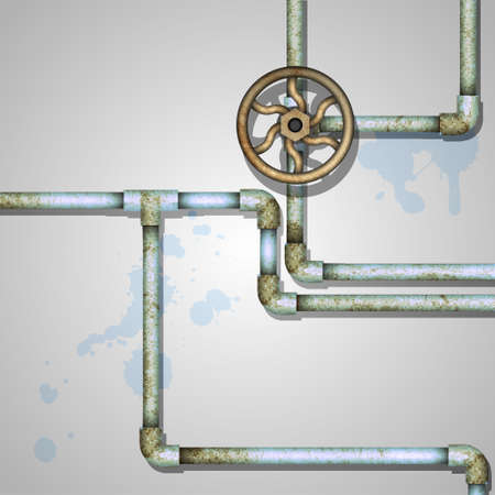 Industrial background with rusty pipes Vector