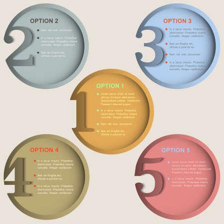 numbered: Rotonde banner numerati in retro modello di progettazione colori creativi